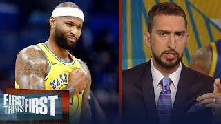 Boogie Cousins was critical for the Warriors Game 2 win & Klay's injury | NBA | FIRST THINGS FIRST