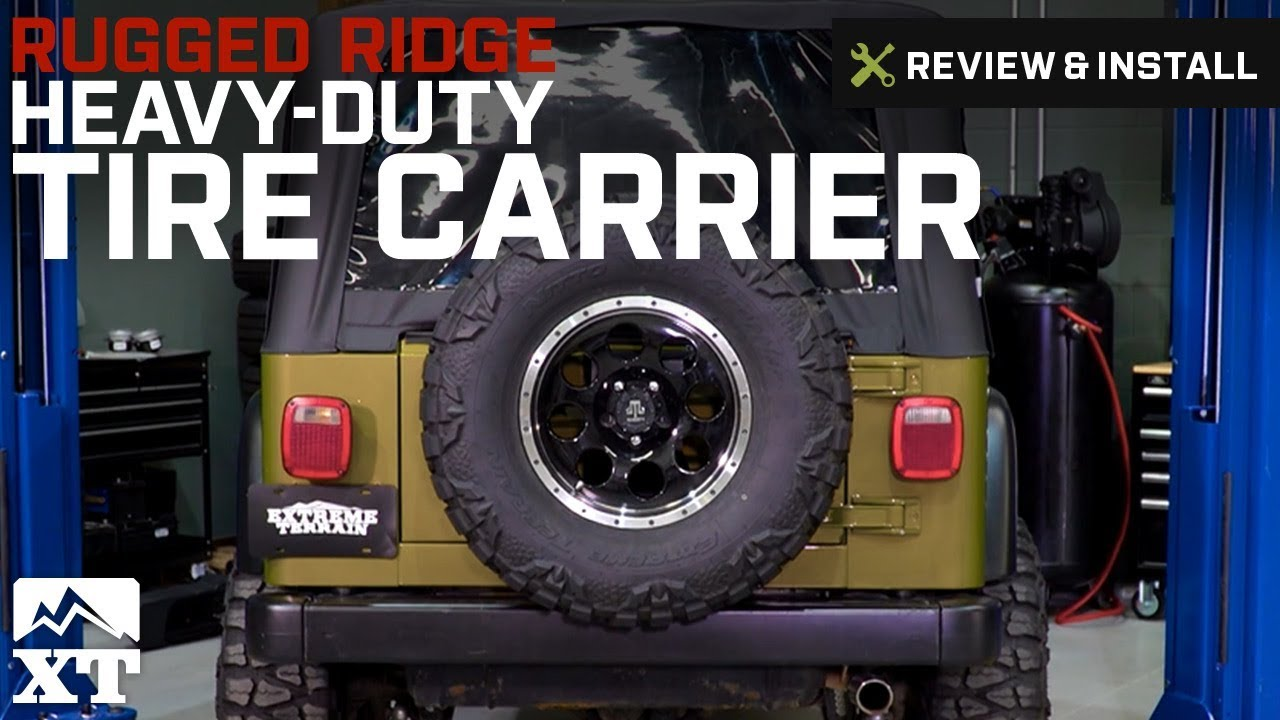 Jeep Wrangler (1987 2006 YJ U0026 TJ) Rugged Ridge Tire Carrier Heavy Duty  Review U0026 Install