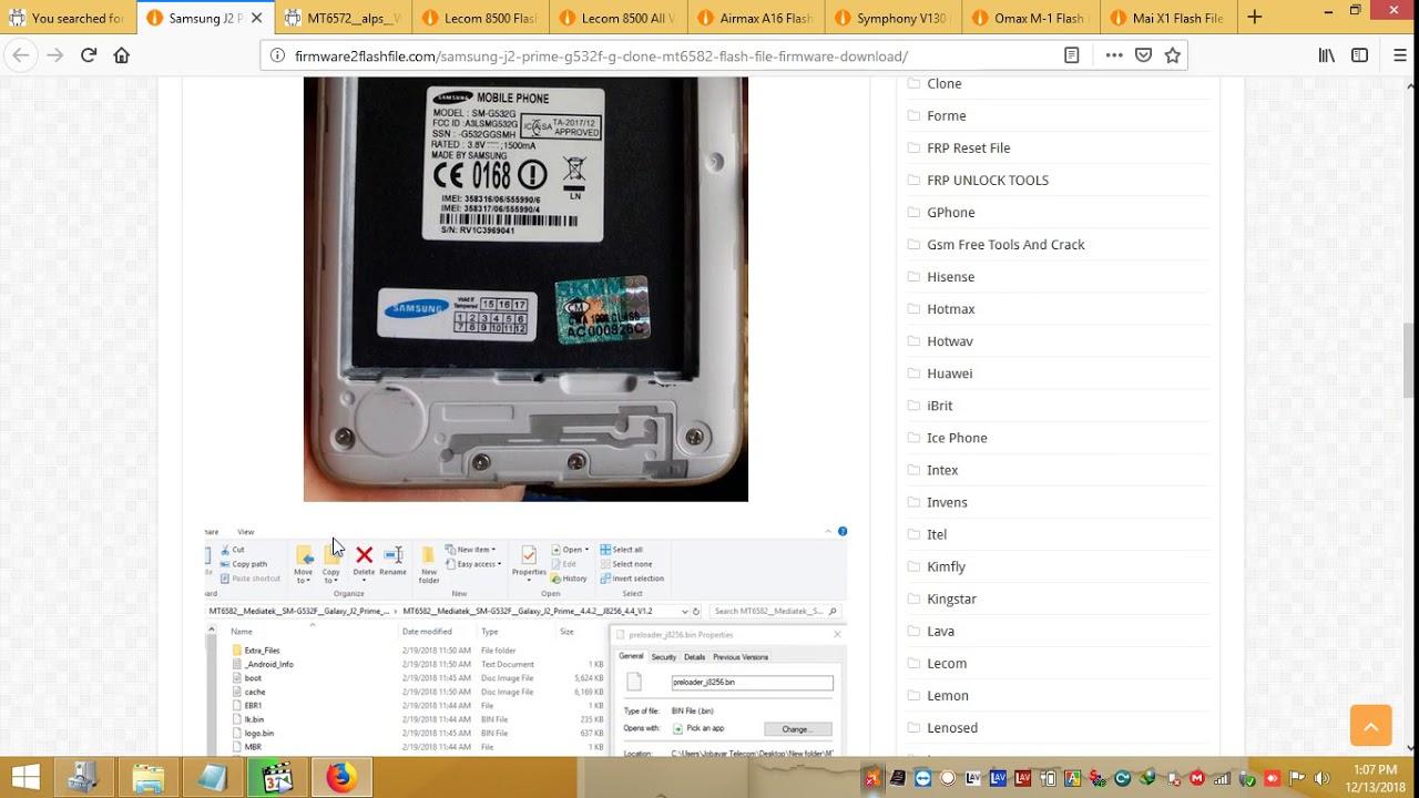 Samsung J2 Prime G532FG Clone MT6582 Flash File Firmware Download