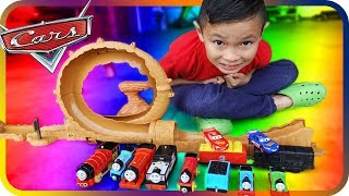 Disney Cars 3 Lighting McQueen Jump Over Thomas and Friends  - TigerBox HD