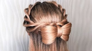 🌿Прически на Последний Звонок Пошагово🌿Бант из волос 🌿HAIR BOW TUTORIAL🌿 ©LOZNITSA