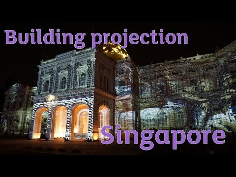 Building projection at Singapore's National museum - Night Light Festival 2017