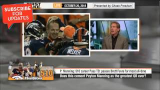 First Take - Peyton Manning breaks Brett Favre's Touchdown Record