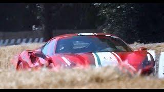 フェラーリのスーパーカーがヒルクライムで加速するサウンドをお楽しみ...