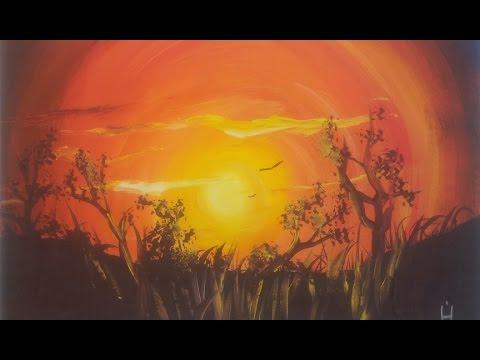 видео: Рисуем яркий Закат гуашью