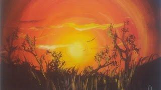 Рисуем яркий Закат гуашью