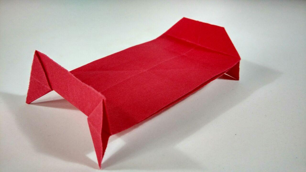 Como hacer una cama de papel s per f cil origami para principiantes youtube - Hacer una cama abatible ...
