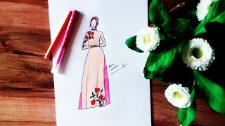 Beautiful Vietnamese Dress Drawing