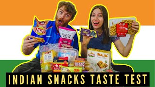 INDIAN SNACKS TASTE TEST | Trying 10 Different INDIAN Food Items in Canada!