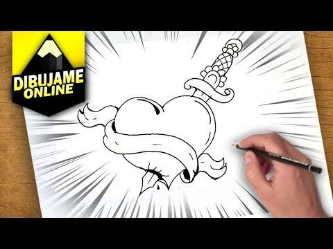 como dibujar un corazon con una espada | como dibujar un corazon con una espada paso a paso