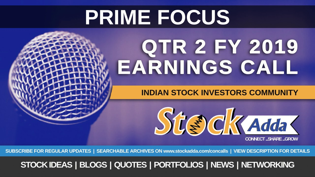 Prime Focus Ltd Investors Conference Call Qtr2 FY19