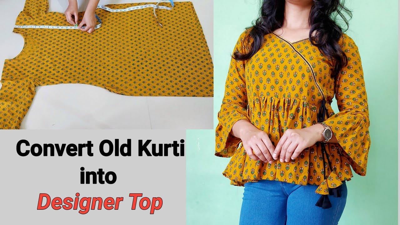Convert/Reuse Old Kurti Into Beautiful Peplum Top/Old kurti Reuse Idea|Top Cutting And Stitching