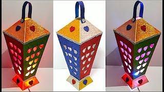 DIY - Lantern/Tealight Holder With Glitter Sheet   DIY Christmas Decorations Idea