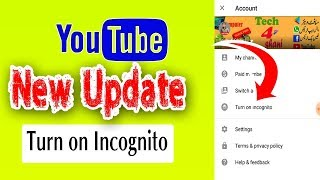 Youtube Two New Updates | Turn on/off incognito & Full screen Video thumbnail | #Tech4shani
