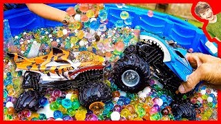Monster Trucks For Children Riding In Orbeez!