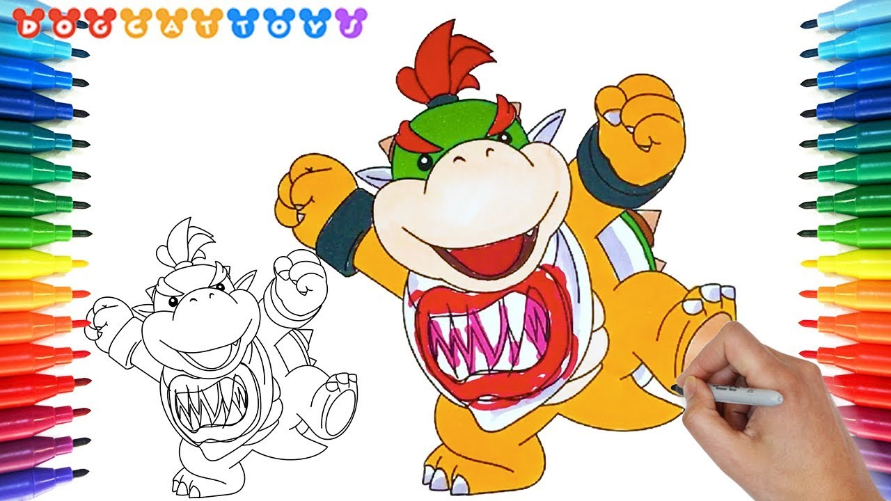 How To Draw Super Mario Bros Bowser Jr 208 Drawing Coloring Pages Videos For Kids