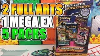 2 FULL ARTS + 1 MEGA EX - 4 PULLS 5 PACKS! Pokemon Mystery Power Box Opening of Pokemon Cards