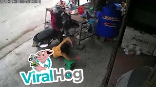 Motorcyclist lost control and runs into a butcher table