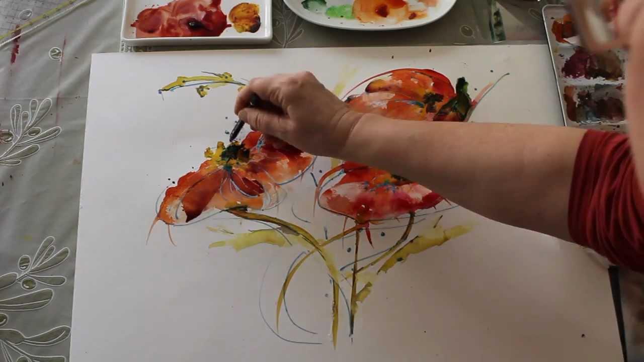 Wasser Farbe und Mut  Tutorial wilde Mohnblumen  YouTube
