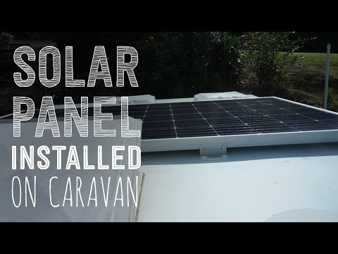 Solar panel installed and showing how it works on a caravan