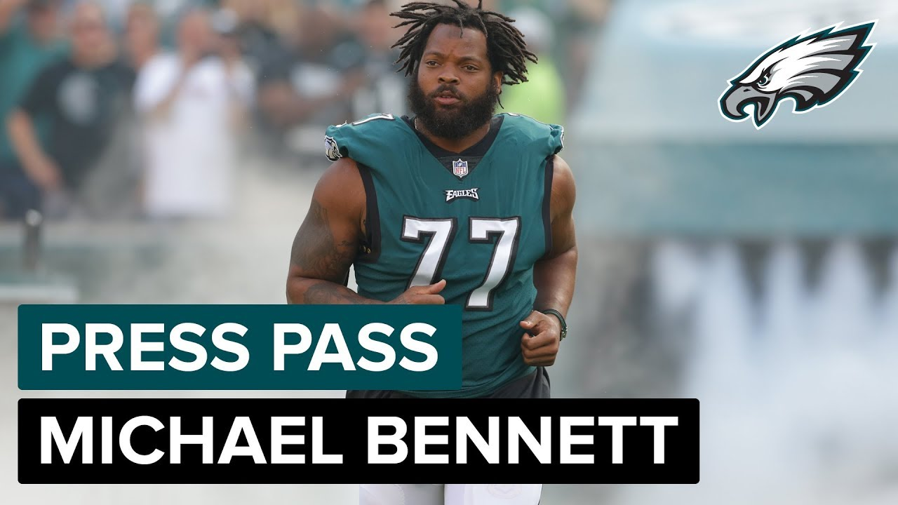 the latest ad0a3 3853c DE Michael Bennett Talks Roughing The Passer Penalty & More   Eagles Press  Pass