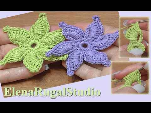 How To Crochet Flowers Thick Petals Tutorial 44 : How To Crochet Flower Thick Petals With Picot Tutorial 45 ...