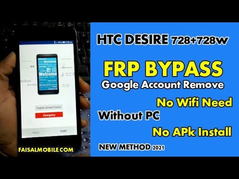 HTC Desire D728 Google Bypass FRP Reset 2021 Method || No Pc || No Wifi