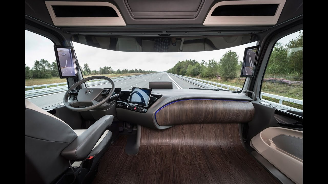Mercedes benz future truck 2025 interior youtube for Future interieur