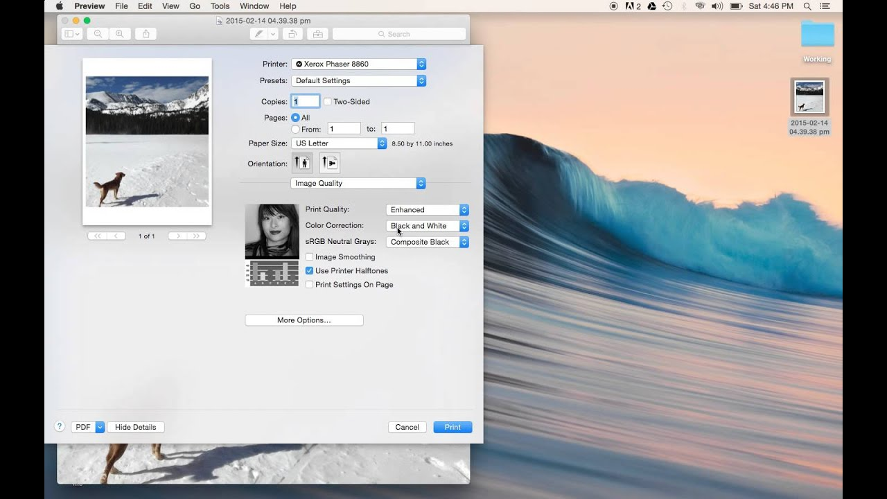 how to take test print in mac