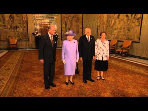 The Queen visits the Presidential Palace in Rome