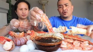 JUMBO LOBSTER TAILS AND KING CRAB SEAFOOD BOIL MUKBANG