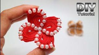 DIY - Kanzashi Flower Satin ribbon Galaxy   Handmade brooch