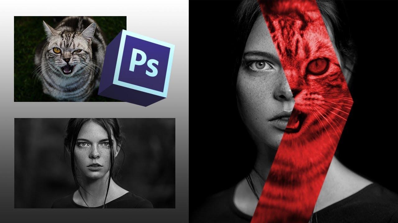 Эффект наложения фотографий в фотошопе - YouTube