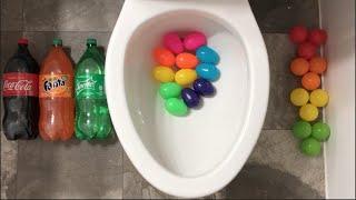Will it Flush? - Coca Cola, Sprite, Fanta, Rainbow Surprise Eggs, Plastic Balls