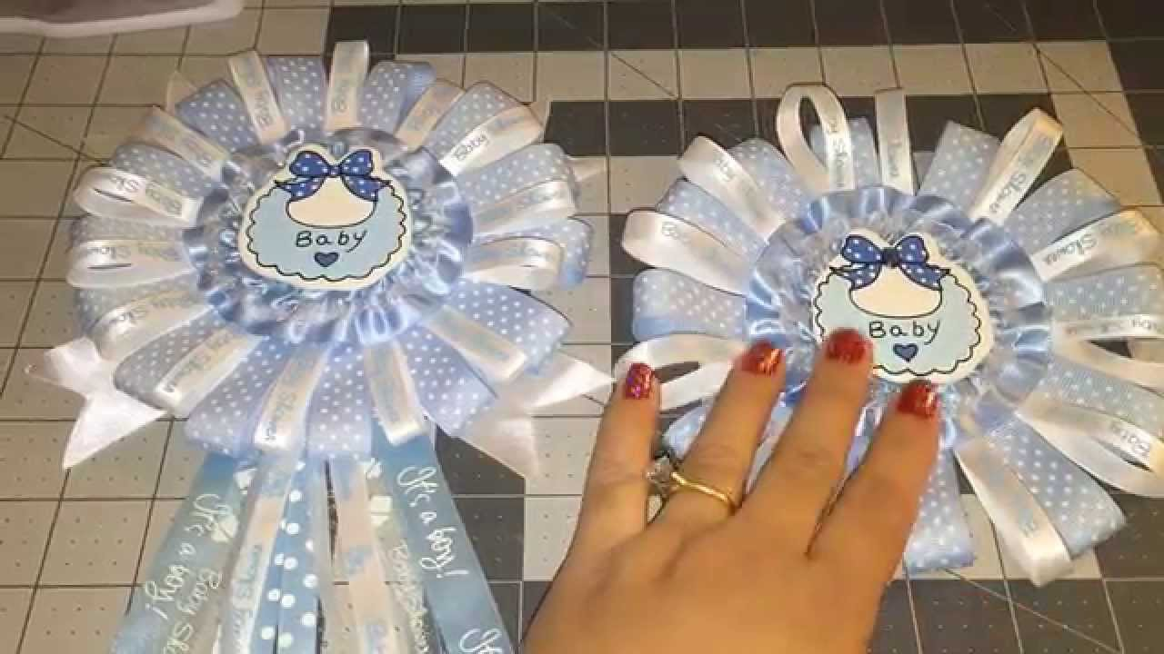 Blue Baby Shower Corsage DIY (Do It Yourself)   YouTube