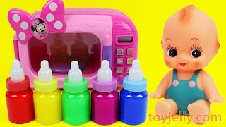 Download Video Learn Colors Bubble Gum Microwave Toy Baby Doll Slime Milk Bottle Feeding Training for Children MP3 3GP MP4