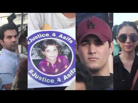 Justice For Asifa Protest In Mumbai, Carter Road | Akshay Kumar's son, Aditi Rao Hydari, Rajkummar