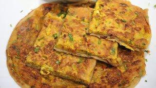 Egg & Besan Topping Paratha Recipe | Sabzi Besan ke Parathe