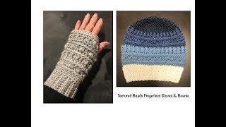 Crochet  Tutorial - Textured Beads Fingerless Gloves / Wrist Warmers  (beginner)