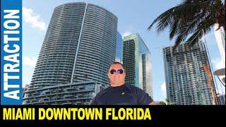 Miami skyscrapers downtown great bay views boats bridges GoPro cam foot traffic by Jarek Florida USA