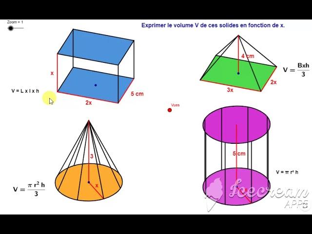 Formules des volumes (cylindre, cône, pyramide, pavé droit)