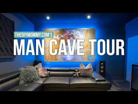 MAN CAVE TOUR! | Modern Theater Room Design | The DIY Mommy