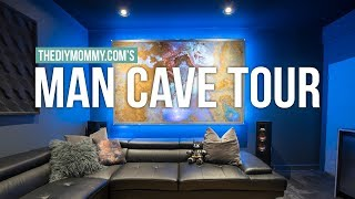 MAN CAVE TOUR!   Modern Theater Room Design   The DIY Mommy