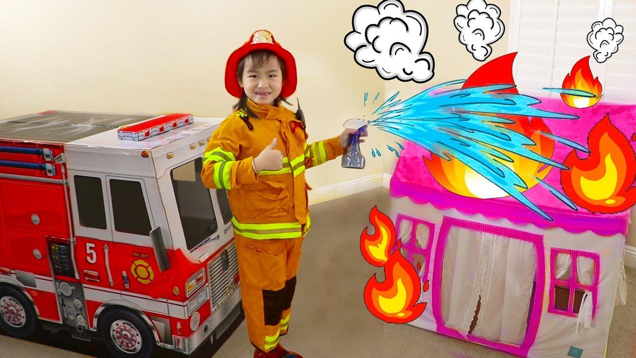 Download Jannie Pretend Play Bombero y Rescata Sus Amigos | Camión de bomberos de juguetes
