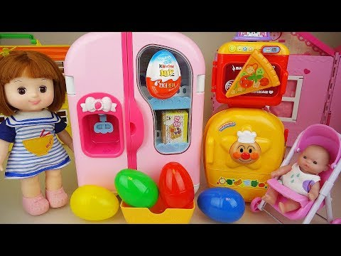 Surprise eggs and Baby doll Refrigerator kitchen toys play