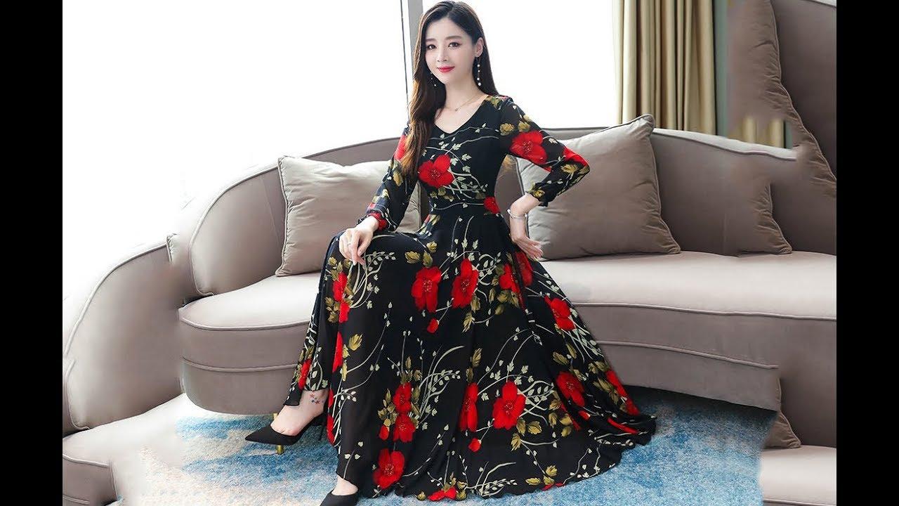váy đầm xòe hoa dài sang trọng xinh xắn mới nhất   BOSUMY