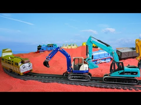 toys-trains-with-construction-vehicles-working-on-mars- -excavator-,-dump-truck-,