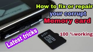 How to fix corrupt SD card  | Fix memory card problem ( Hindi )