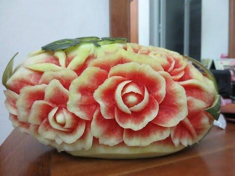 Hướng đẫn Cách tỉa hoa Hồng từ Dưa Hấu-Carving Art Rose Flower | cong nguyen