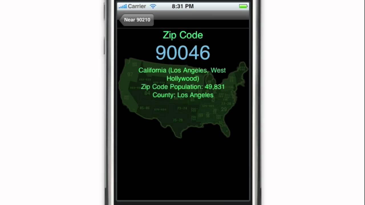 Zip Codes IPhone App YouTube - Us zip code for apple id